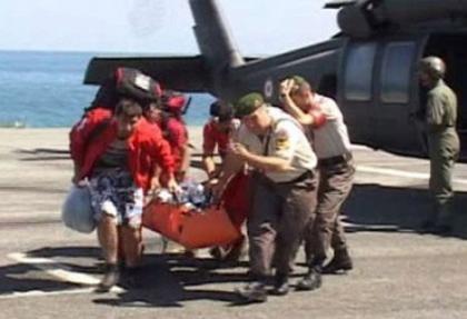 Askeri helikopterle kurtarıldı