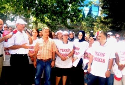 Grev yapan tekstil işçilerine destek ziyareti