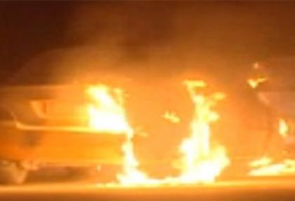 LPG'li taksi alev alev yandı