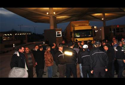 Kapıkule Gümrük'de TIR şöförlerinden eylem