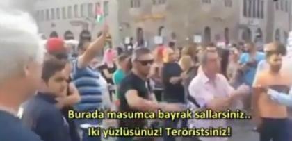 Almanya'da bir Türk, İsrail destekçisi grubu böyle dağıttı