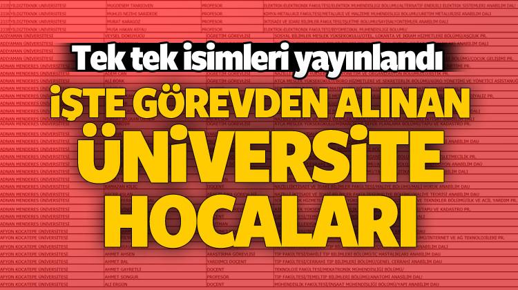 Üniversitelerden atılan akademisyenlerin listesi
