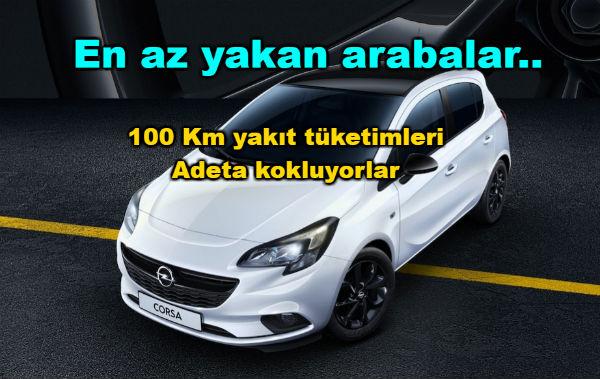 En az yakan arabalar, 100 km yakıt tüketimleri
