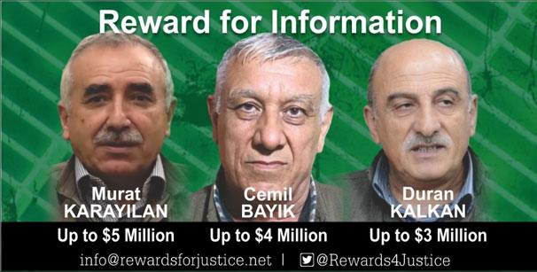 ABD'den üç terörist başına 12 milyon dolar ödül!