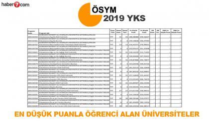 YKS 2019'da düşük puanla öğrenci alan üniversitelerin bölümleri!